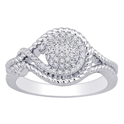 0.16CTW Silver Diamond Fashion Ring