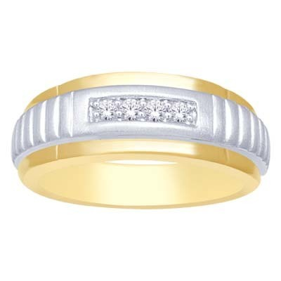 0.16CTW 2 Tone Men's Diamond Ring 10K