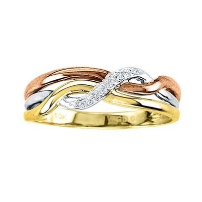 0.02CTW Tri Color Diamond Ring 10K