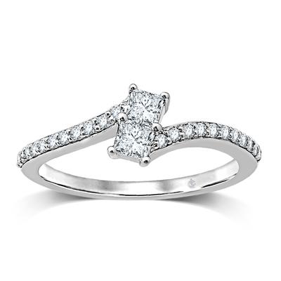 0.50CTW 2 for US Diamond Ring 14KW
