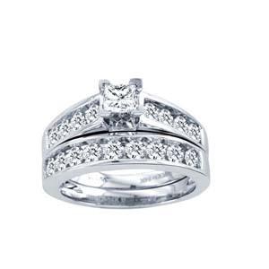 1.50CTW Princess Cut Diamond Wedding Set 10KW