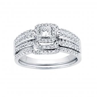 0.50CTW Princess Cut Diamond Wedding Set 14KW