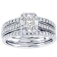 1CTW Princess Cut Diamond Wedding Set 14KW