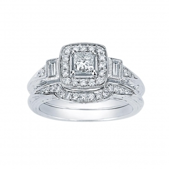 0.80CTW Princess Cut Diamond Wedding Set 14KW