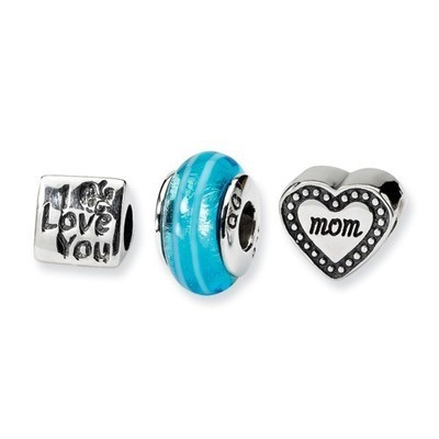 Sterling Silver I Love You Mom Charm Set