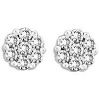 1CTW Flower Design Diamond Stud Earrings