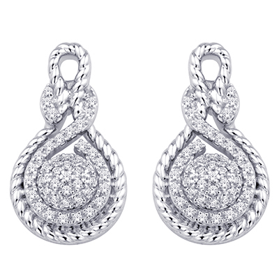 0.16CTW Silver Love Knot Diamond Earrings