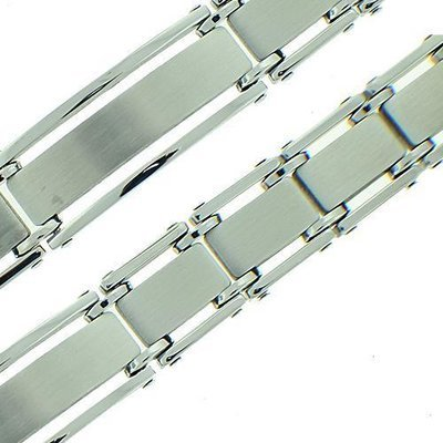 Men's Brushed Polish Stainless Steel Bracelet