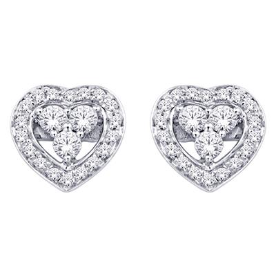 0.16CTW Heart Shaped Diamond Earrings