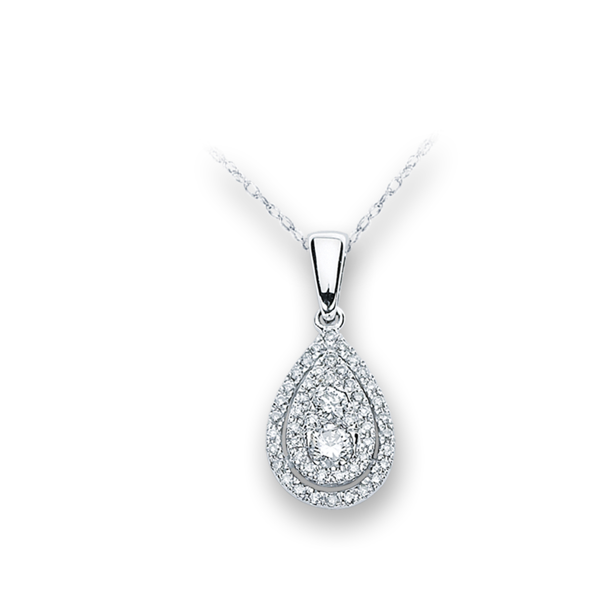 0.40Ctw Pear Shaped Halo Diamond Pendant 14KW