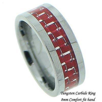 Men's Red Carbon Fiber Tungsten Band