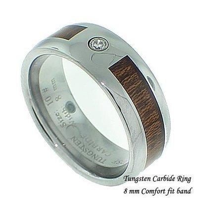 Men's Wood Finish/CZ Tungsten Band