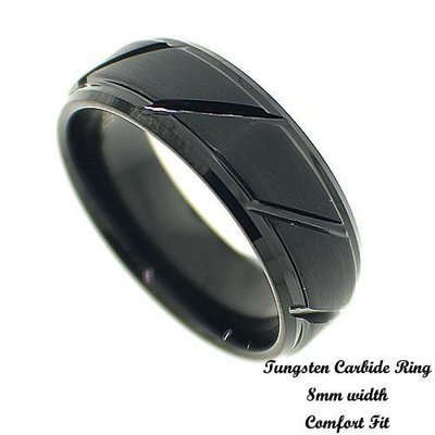 Men's IP Plated Beveled Tungsten Band