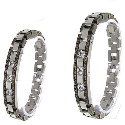 Men's 2 Tone CZ/Stainless Steel Bracelet