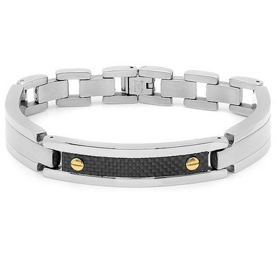 Men's Stainless Steel/Carbon Fiber Bracelet
