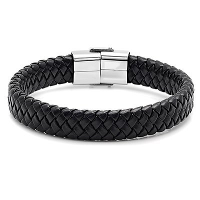 Men's Black Leather/Stainless Steel Bracelet