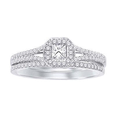 0.33Ctw Princess Cut Diamond Wedding Set 10KW