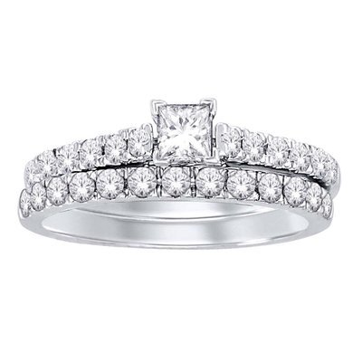 1Ctw Princess Cut Diamond Wedding Set 14KW