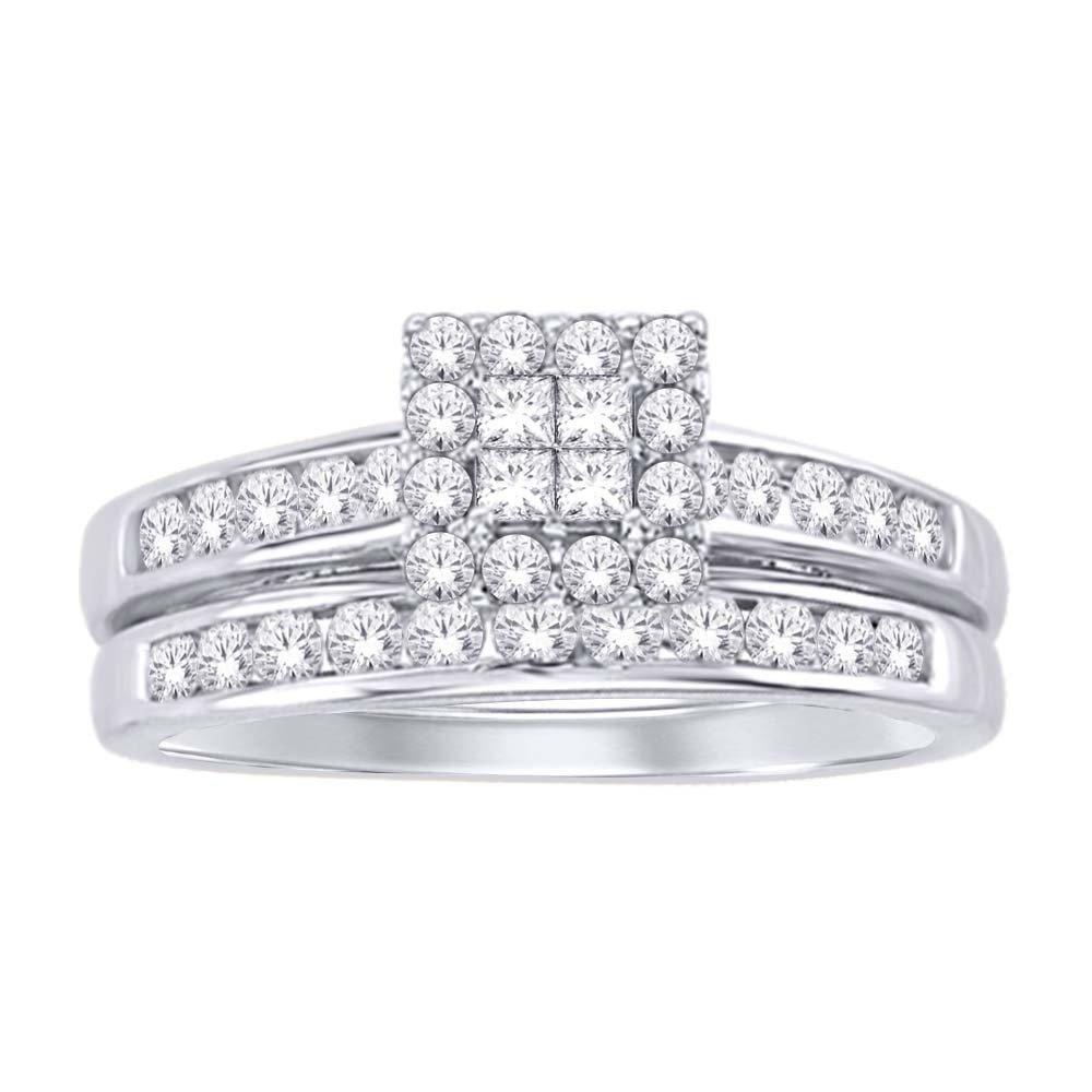 0.75Ctw Princess Cut Diamond Wedding Set 10KW
