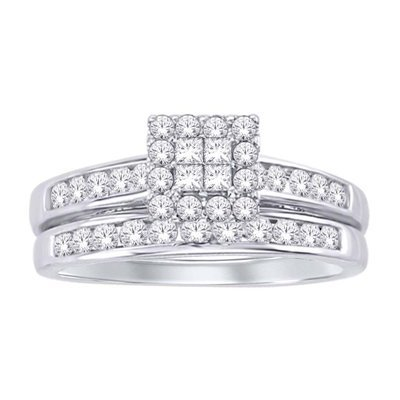 0.75Ctw Princess Cut Diamond Wedding Set 10KW