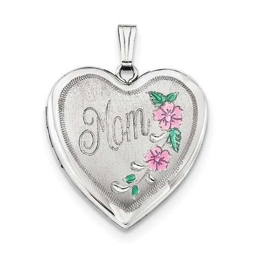 Sterling Silver Enameled MOM Locket