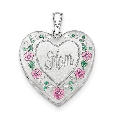 Sterling Silver Enameled Mom Locket