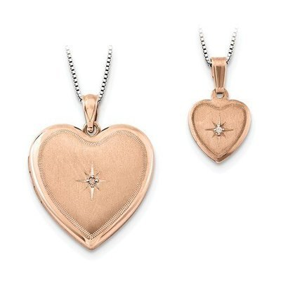 Rose Gold Finish Sterling Silver Mother & Daughter Diamond Locket Set