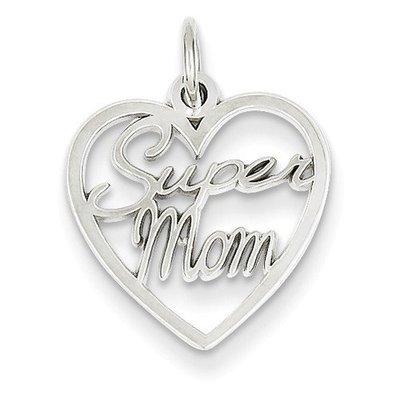14KW Super Mom Charm Pendant