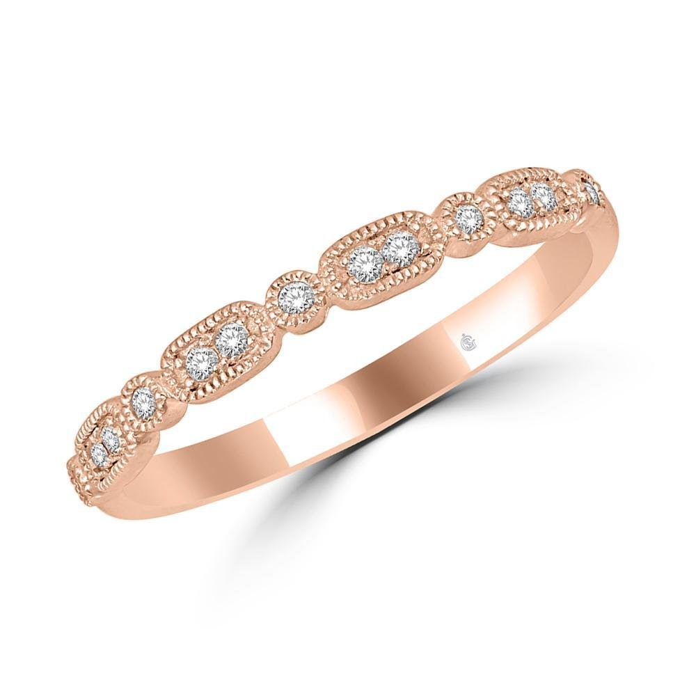1/10Ctw Diamond Stackable Ring 14k Rose Gold