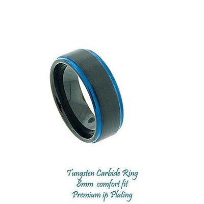 Men's Black IP Plated Tungsten Band