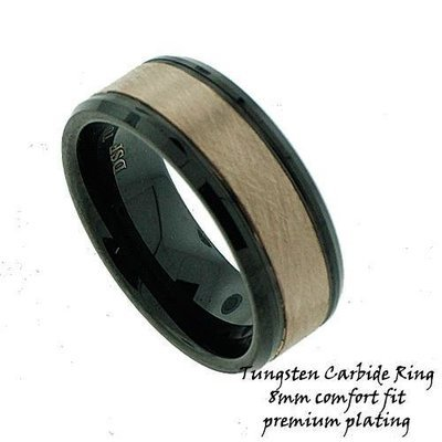 Men's Rose Gold IP Plated Tungsten Band