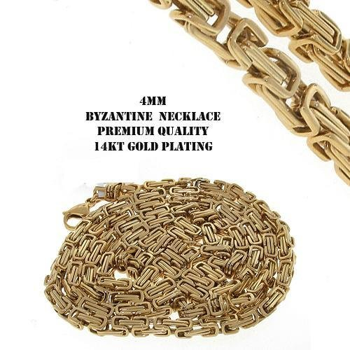 """Stainless Steel 14K Gold IP Plating Byzantine Chain 30"""""""