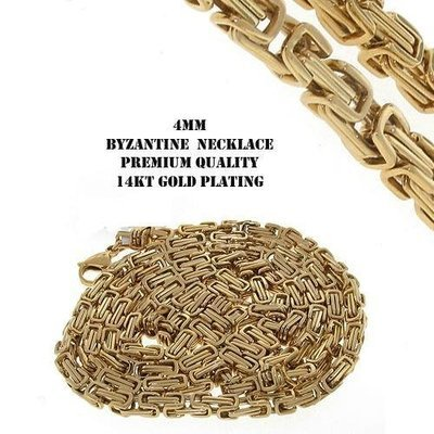 Stainless Steel 14K Gold IP Plating Byzantine Chain 30