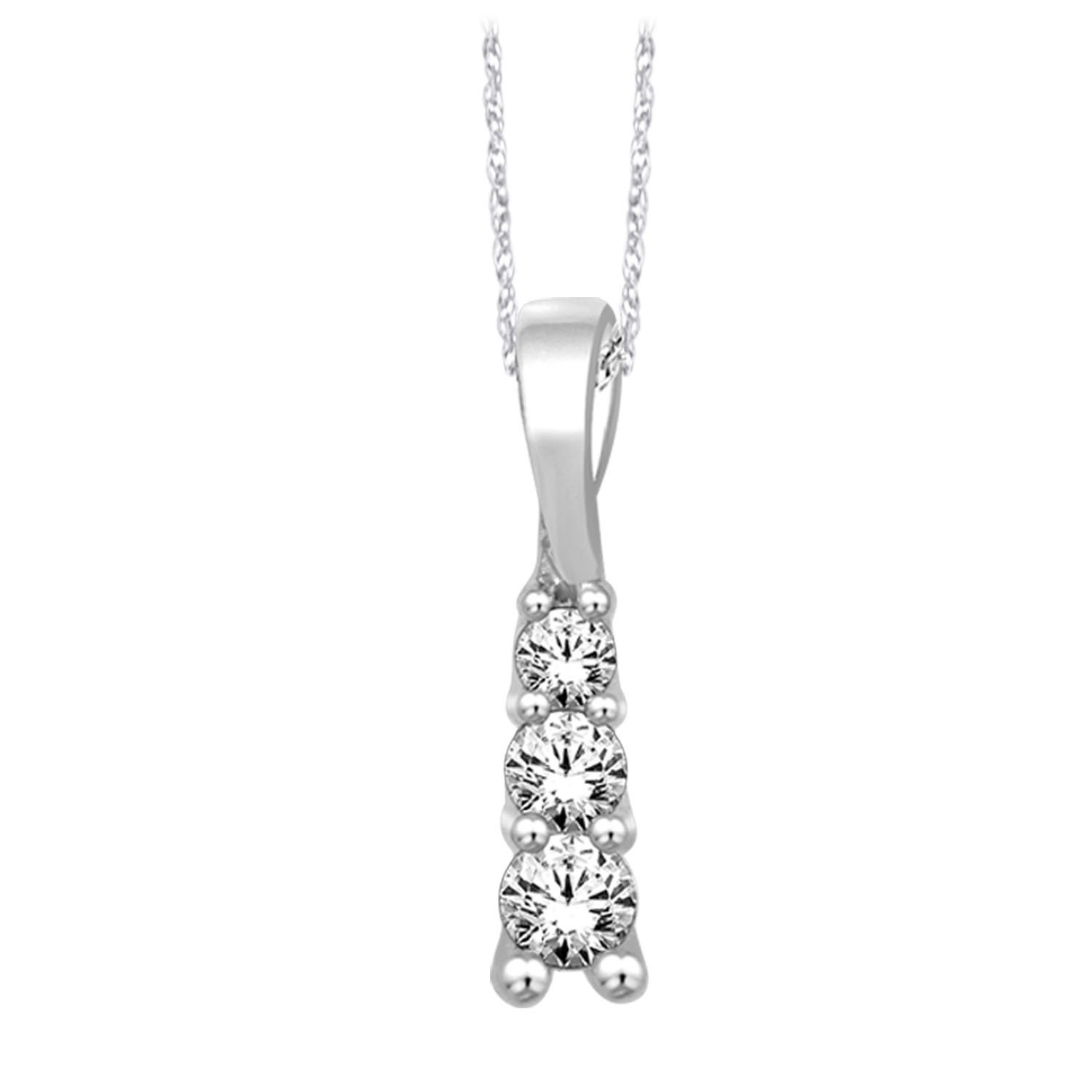 0.14Ctw 3 Diamond Pendant 10KW