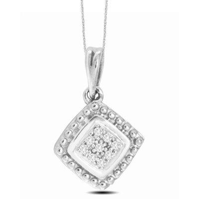 0.03Ctw Sterling Silver Diamond Pendant