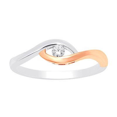 0.10Ctw Diamond Ring 2 Tone 10K
