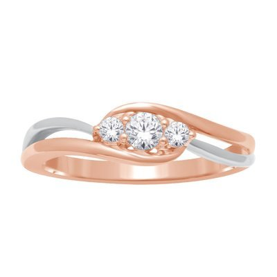 0.25Ctw 3 Diamond Ring 2 Tone 10K