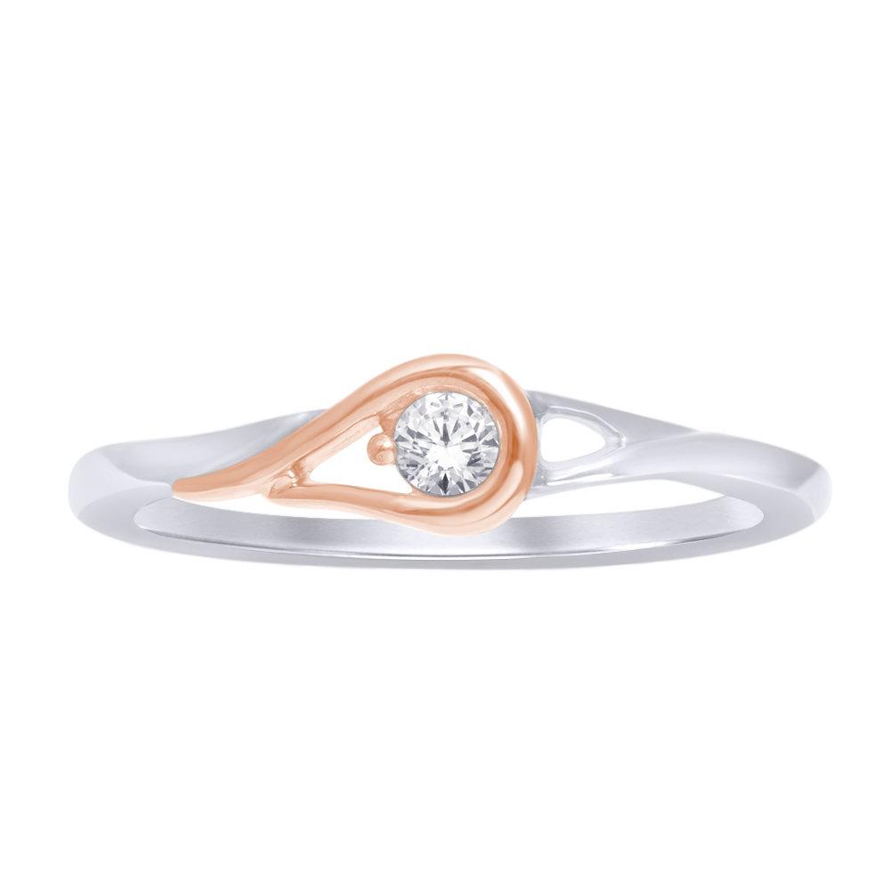 0.10Ctw 2 Tone Diamond Love Knot Ring 10K