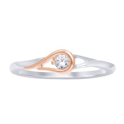 0.10Ctw 2 Tone Diamond Love Knot Ring 10K