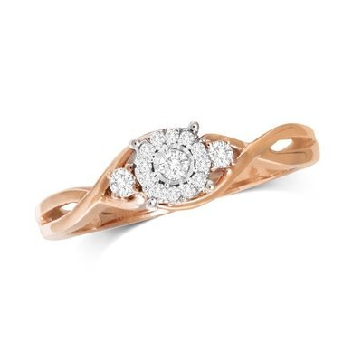 0.16Ctw Infinity Diamond Ring 10K Rose Gold