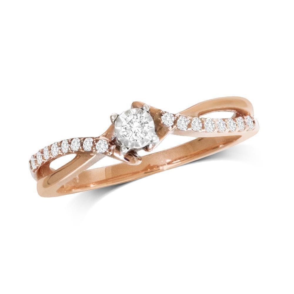 0.16Ctw Infinity Diamond Ring 10K Rose Gold