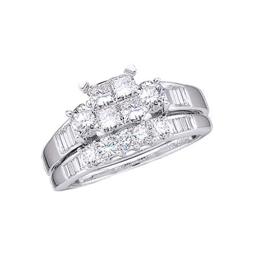 1Ctw Princess Cut Diamond Wedding Set 10kW