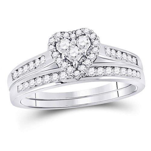 0.50Ctw Heart Shaped Diamond Wedding Set 10KW