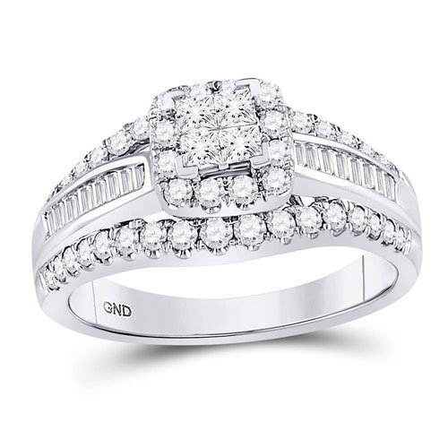 2Ctw Princess Cut Diamond Wedding Set 14KW