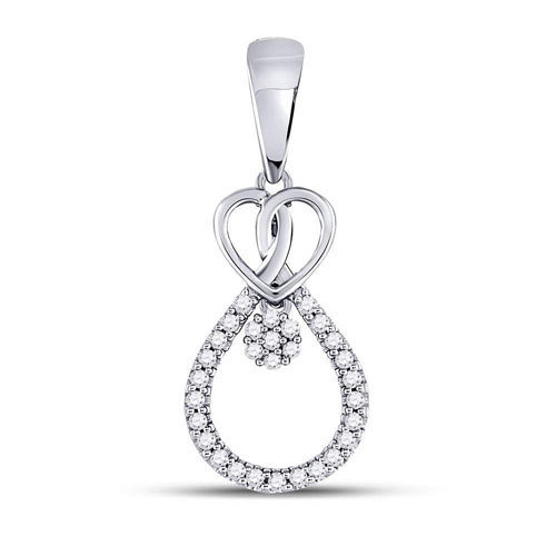 0.10Ctw Heart/Tear Drop Diamond Pendant 10KW