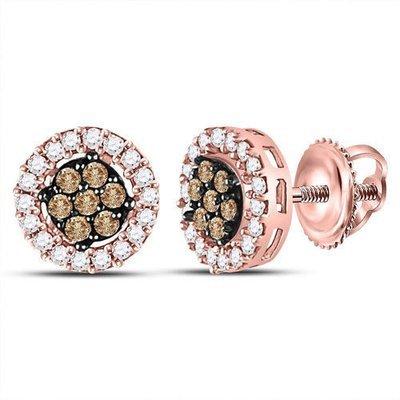 0.50Ctw Brown/White Diamond Earrings 14K Rose Gold