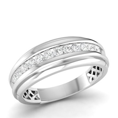 0.50CTW Men's Round Diamond Band 10KW