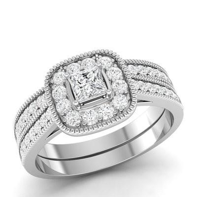 0.50CTW Princess Cut Diamond Wedding Set 10KW