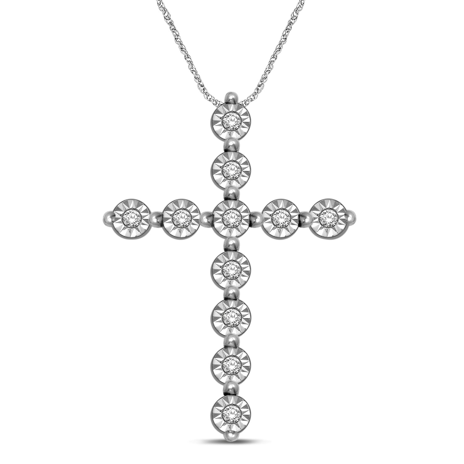 0.05CTW Silver Diamond Cross Pendant