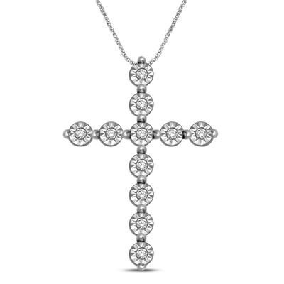 0.05CTW Silver Diamond Cross Pendant
